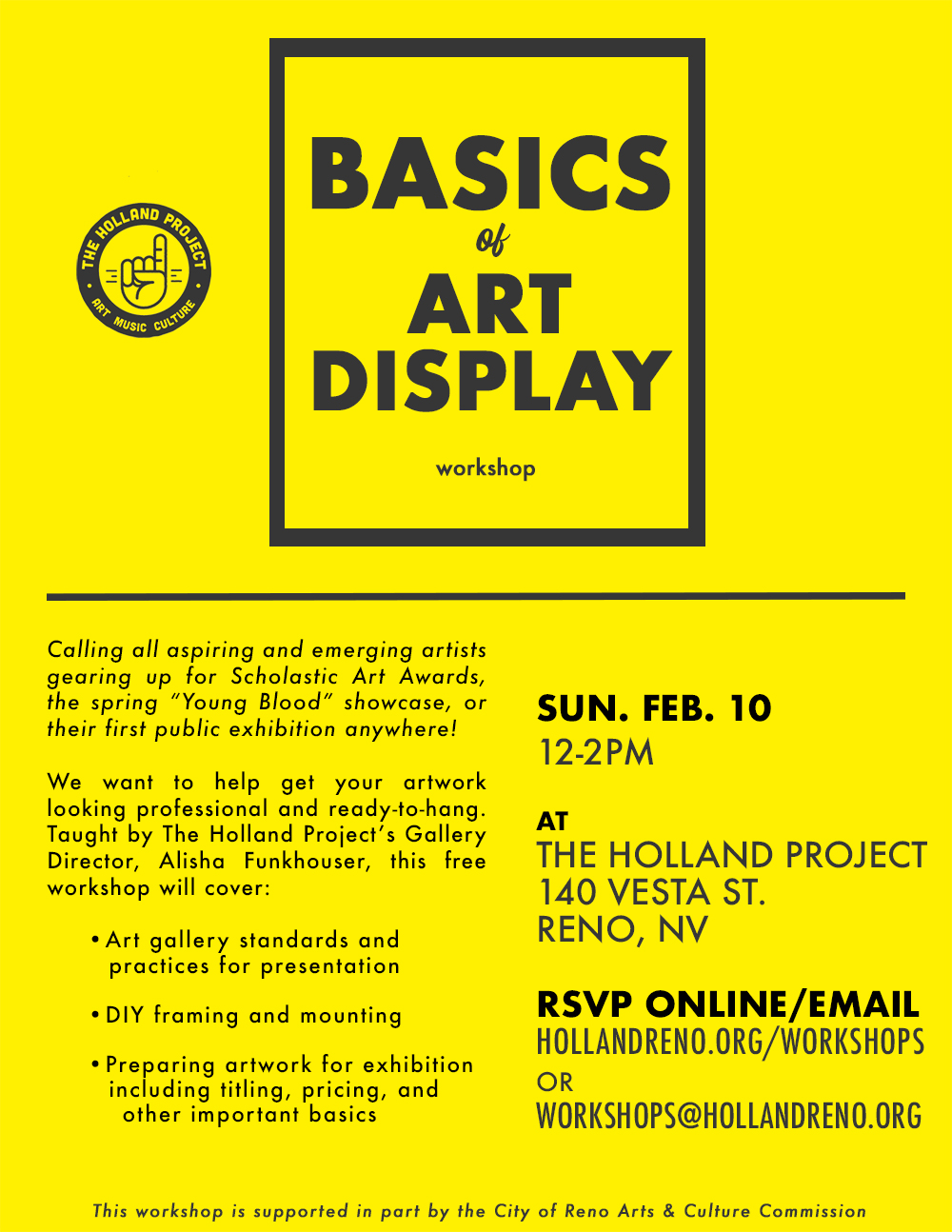 RESCHEDULED: Basic Artwork Display Workshop